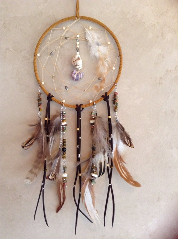 Healing crystal dreamcatcher feather dream catcher natural for Dreamcatcher beads meaning