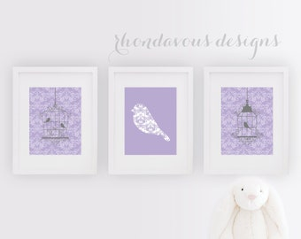 Nursery Bird Art Print - Bird Artwork - Whimsical Bird Art - Birdcage Art - Girl Nursery Art - Girl Bedroom Art - Shabby Chic Decor (NS-706)