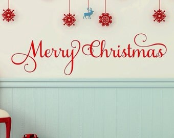 Merry Christmas Decal - Christmas Decal - Wall Decal, Car Decal, Laptop Decal - Christmas Decor