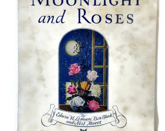 Antique Sheet Music.Victorian Sheet Music Art. Vintage Sheet Music. Moonlight and Roses by Edwin H. Lemare. 1920s Edition Beaux Arts.