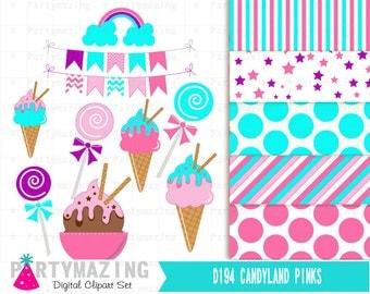 Candyland Clipart Set, Clip art Set with Digital Paper Pack, Instant Download -D194