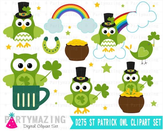 Owl ClipArt St patrick's Clipart Set Spring Owl Garden