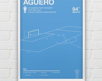 Manchester City - Sergio Aguero vs QPR Giclee Print -- [8]