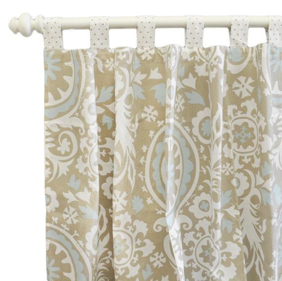 Aqua And Khaki Suzani Curtain Panels Unisex For By