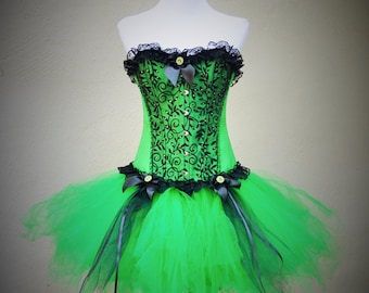 Green corset dress with black lace and bows, fluffy tulle skirt