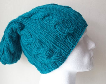 Teal Green Hand Knitted Hat, Slouchy beanie hat, slouchy teal cableknit hat, hand knit women men hat, chunky slouchy knitted hat