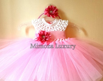Flower girl dress,baby  tutu dress,bridesmaid dress, princess dress, crochet top tulle dress, hand knit top tutu dress