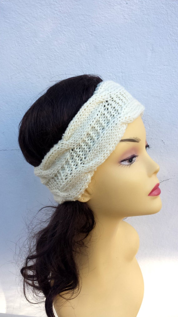 Ivory Hand Knitted Headband, Hair Accessories, ivory knitted headband, cable knit ivory hairband, women knitted headband, winter accessory