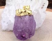 Amethyst Point, Amethyst Focal Bead, Amethyst Point Pendant, Focal Bead with Bail, 24K Gold Plated, Medium Size