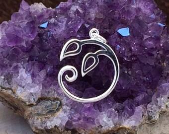 Charm Holder, Vine Charm, Vine Pendant, Leaves Pendant, Sterling Silver Charms, PS01405