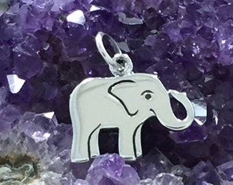 Elephant Charm, Baby Elephant Charm, Sterling Silver Elephant Charm, Pachyderm Charm, Jewelry Supplies, PS01251