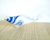 Vintage Glass Fish / Souvenir from glass from the1970s / White and Blue