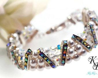 Multistrand Pearl Bracelet, Bridal Jewelry, Wedding Jewelry, Bridal Bracelet, Bridal Shower Gift, Anniversary Gift, Bride, Pearl Bracelet