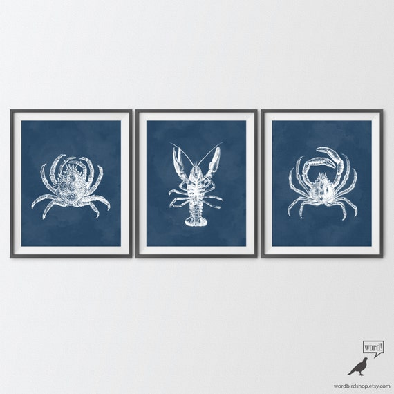 Items similar to navy blue bathroom decor crab lobster for Navy blue bathroom accessories
