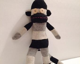 Happy Socks Monkey Black Stripe - Socks Monkey - Stuffed Animal