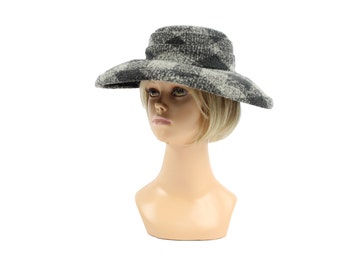 Vintage 50s Plaid Tweed Hat Wide Brimmed Hat Sophisticated Womens Fall Winter Fashion Accessory 1950s Darcel Derby Hat