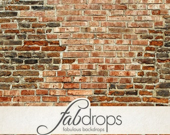 Old Brick Wall Backdrop - Red Brick Photography Backdrop - Distressed Brick Back Drop (FD0909)