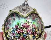 Hand painted rose garden cameo faberge mosaic style duck egg blue pink green silver glass and stone beaded