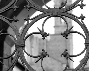 Fine Art Photography, Black and White Photography, Florence Italy, Architecture Art, Tuscany, 5 x 7 Print, Rusty Metal, Santa Croce