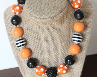 black and orange chunky bead bubblegum necklace photography prop