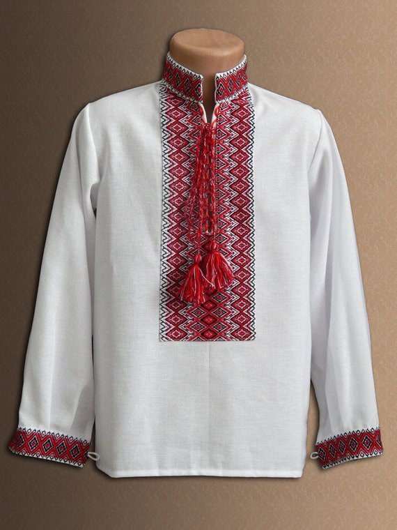 Ukrainian embroidered shirt for boys different by