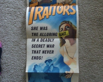 Original 1963 The Traitors Insert Movie Poster Noir, Crime, Sexploitation, Patrick Allen