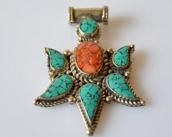Turquoise Coral Pendant Tibetan Silver
