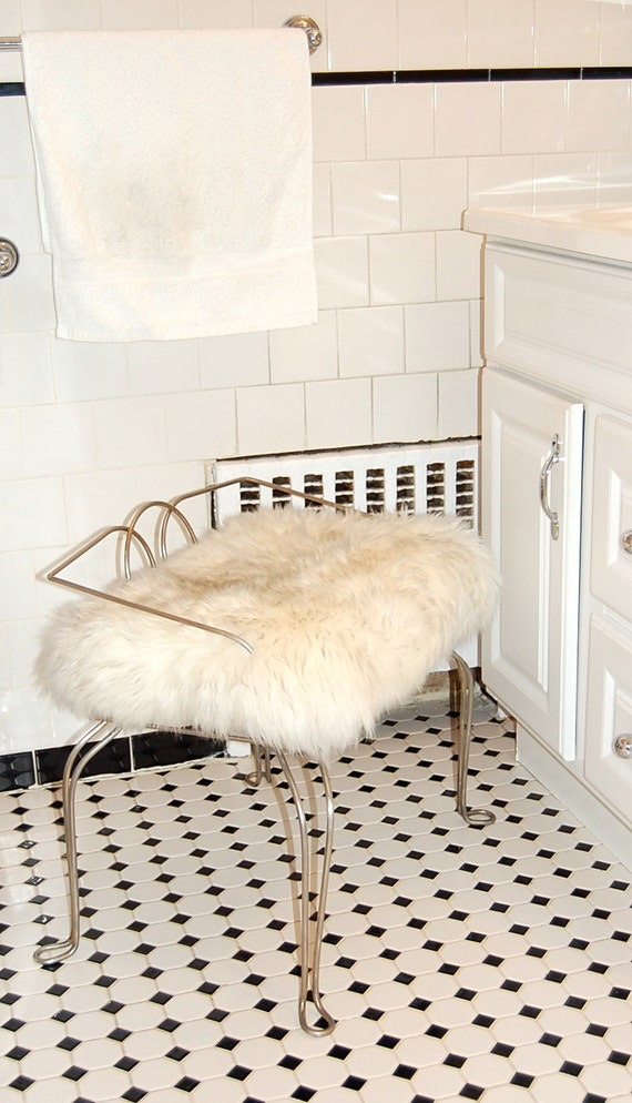 White Fluffy Genuine Sheepskin Metal Stool Vanity Seat