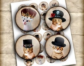 Cats in Hats Printable Images 20mm 18mm 16mm for Jewelry Making - Digital Collage Sheet - Instant Download