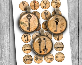 Steampunk Old Keys Digital Collage Sheet 12mm, 14mm, 16mm Circle images for Earrings, Cuff Links