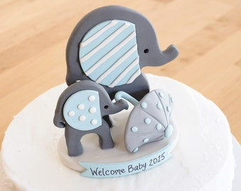 Mommy and Baby Elephant Keepsake Cake Topper - Nursery Decor - Elephant Theme - Personalized