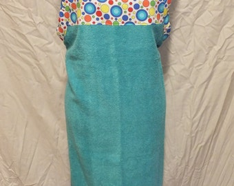 Baby Bath Towel Apron - Party Dots/Turquoise