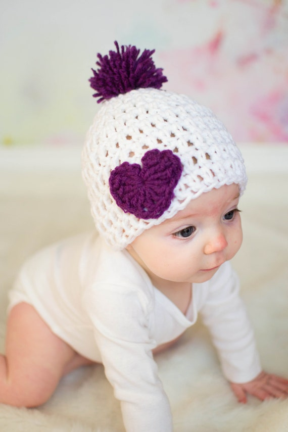 Crochet Valentine Hat : Crochet Baby Hat, Valentines Day Hat, Baby Heart Hat, Purple and White ...