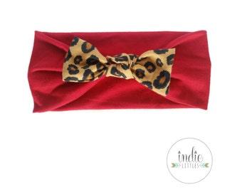 Red Headband Leopard Bow / Valentines Headband / Newborn Baby Girl Children Women / Babies Adult Photo prop Leopard Headbands Headwrap