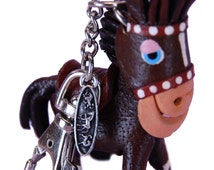 Purse Charm - Brown Donkey - Clasp, Chain, Fob - Animal Gifts For Teen Girls Women Mom - Accessories -Top Selling Shop Item 3140