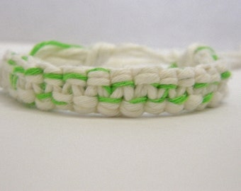 Adjustable Neon Green & White Hemp Bracelet
