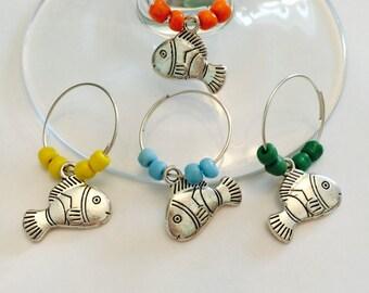 Nemo Fish Wine Charms - Set of 4