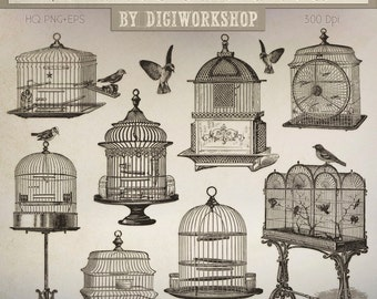 "Birdcage Clip Art: ""Vintage Birdcages"" retro digital clipart with vintage images of birds, birdcages in victorian style"