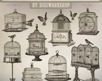 "Birdcage Clip Art: ""Vintage Birdcages"" retro digital clipart with vintage images of birds, birdcages in victorian style"