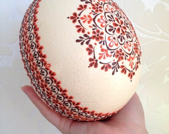Ostrich Easter Egg decorated with Wax Traditional Slavic Technique, Kraslice, Pysanka