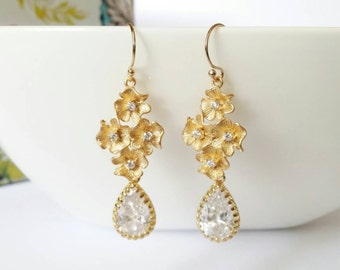 Gold cubic zirconia earring, gold cz earring, gold flower earring, teardrop earring, bridesmaids gift, mother day gift, long gold earrings