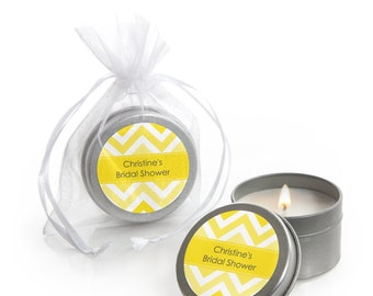 12 Yellow Chevron Candle Tin Party Favors - Party Supplies for a Baby Shower, Birthday Party or Bridal Shower