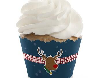 Snowy Santa Cupcake Wrappers - Santa & Rudolph Christmas Party Cupcake Decorations - Set of 12