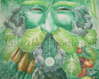 Green Man of the Garden Print delicious vegetables guardian