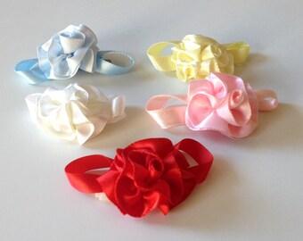 Satin Flower Baby Bow