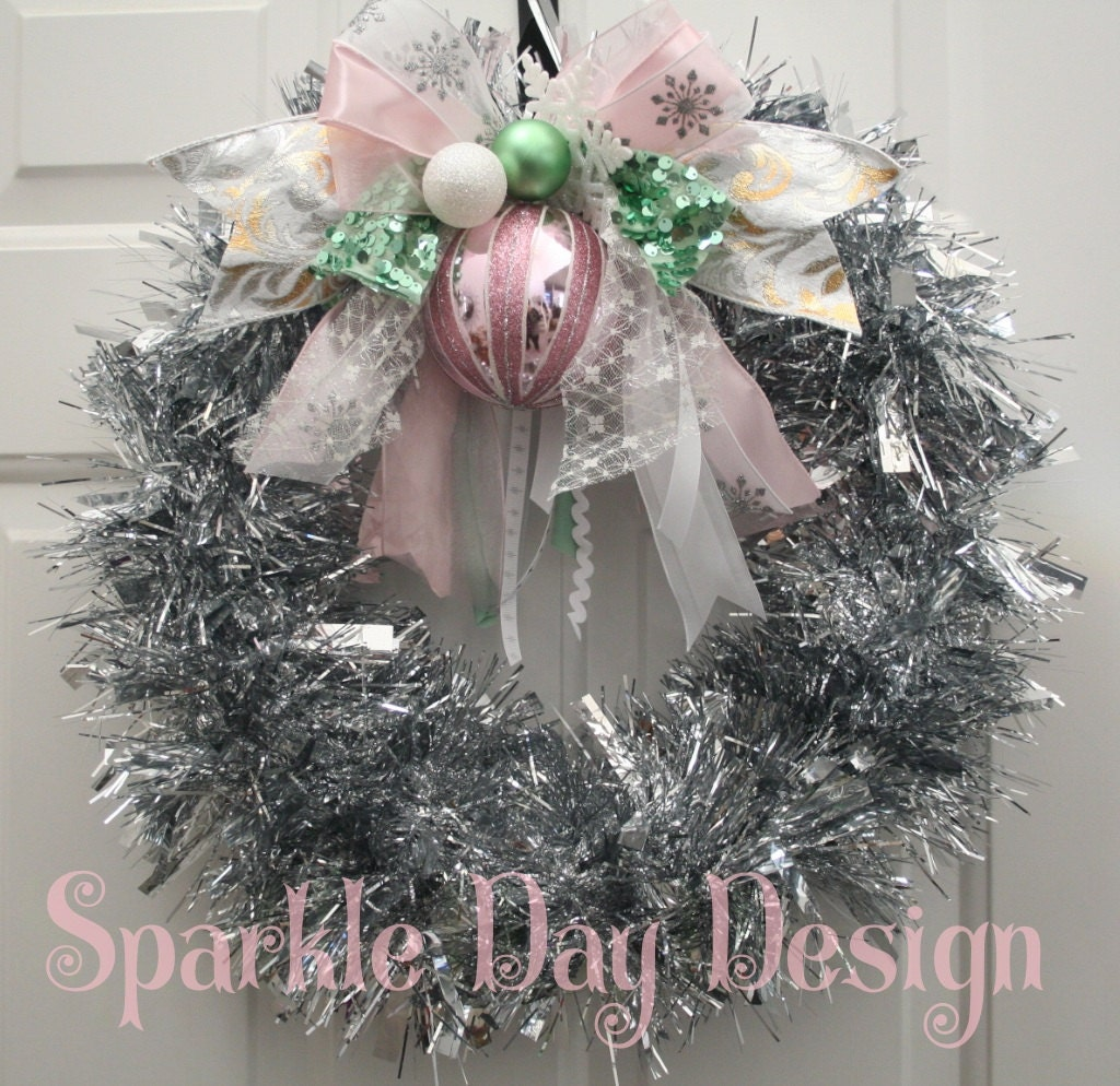 Silver tinsel christmas wreath vintage inspired