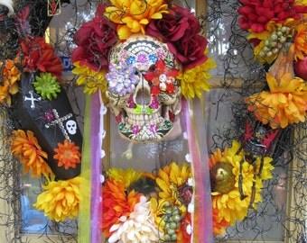 Day of the Dead wreath, Sugar skull wreath, Halloween wreath
