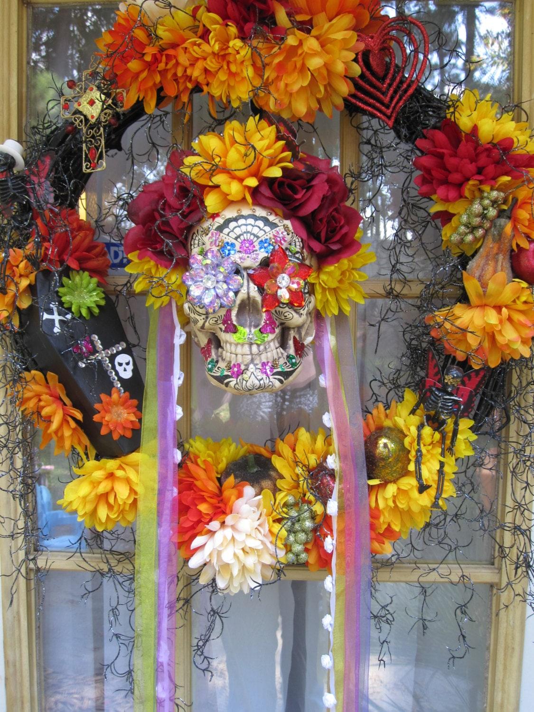 Day of the Dead wreath Sugar skull wreath Halloween wreath