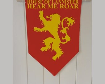 Game Of Thrones Lannister Hear Me Roar - Wall Hanging Banner Flag Fabric pennant Cotton home decro decro