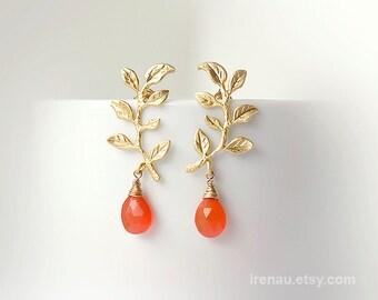 Gold Carnelian Earrings, Leaf Earrings Branch, Romance Orange Dangle Earrings, Simple Post Earrings, Teardrop Earrings, Natural Gemstone